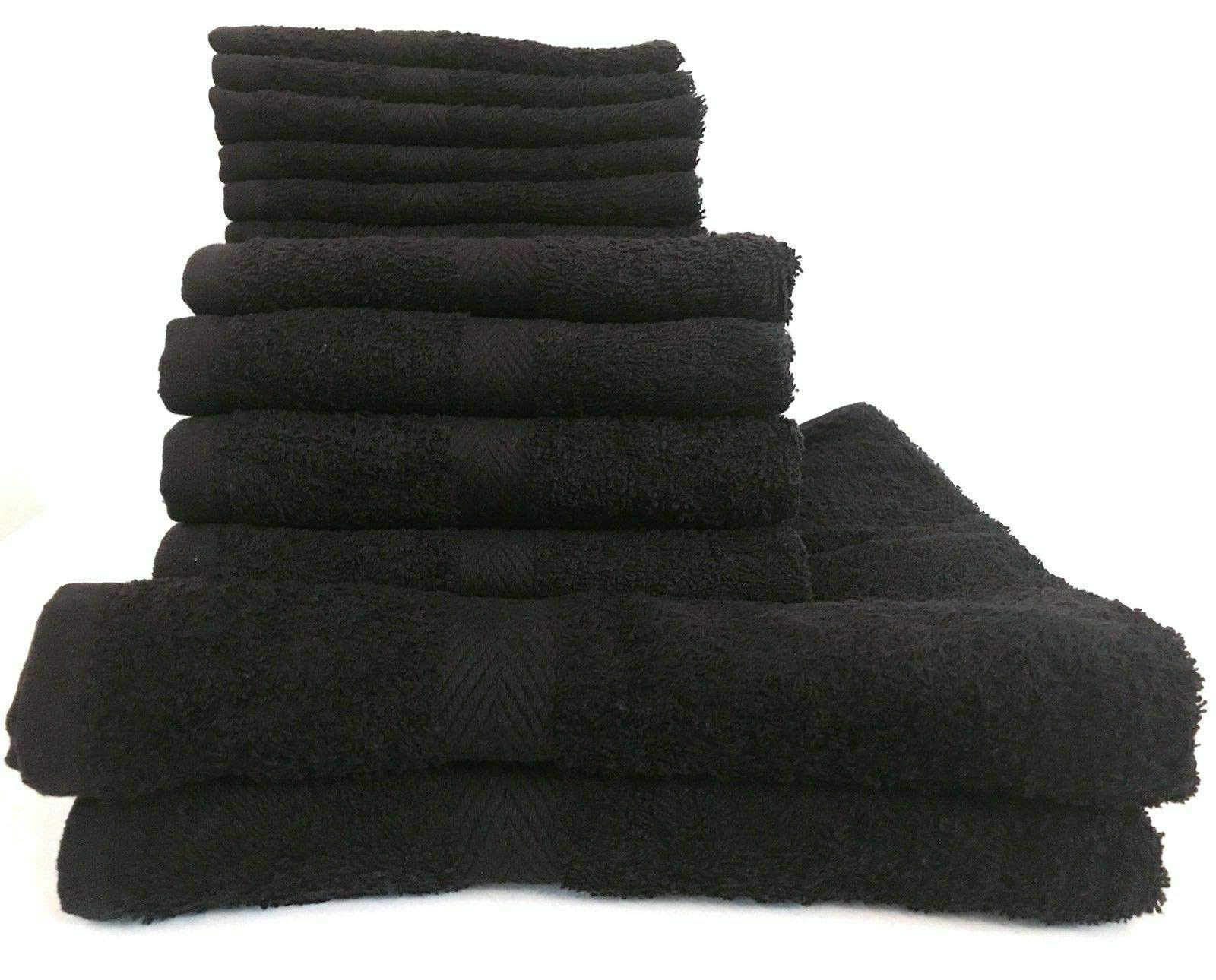 16x27'' Ring Spun 99% Cotton 24 Pack Black Salon Gym Heavy Hand Towels #GG11