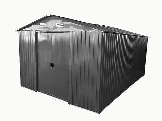 Vertiente del jardín 13m² cobertizo de acero galvanizado antracita chapa de AS-S: Amazon.es: Hogar