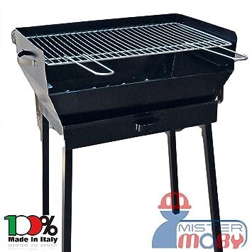 mistermoby – Barbacoa grande 60 x 40 cm a carbón carbón vegetal con patas desmontables,