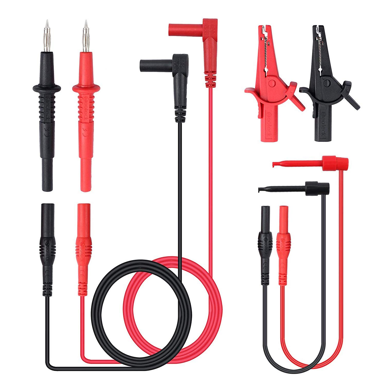 8 Pieces Multimeter Electronic Professional Test Lead Kit//Multimeter Accessory Kit Includes Lead Extensions Test Probes Mini Hooks Alligator Clips for School Factory and other Social Fields