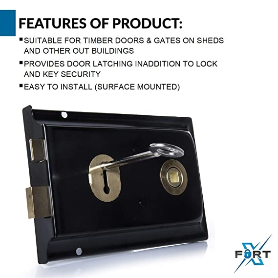 Cerradura tradicional, cerradura de seguridad para montaje en superficie con pestillo, ideal para puertas con timbre o portones de edificios exteriores, ...