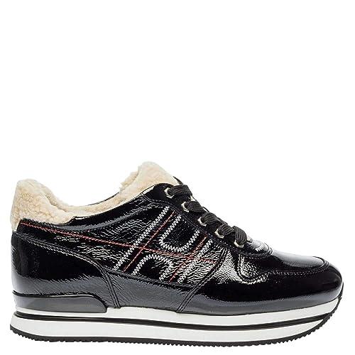 HOGAN DONNA Sneakers Mod. HXW2220AO70JHZ0L0O in Vernicie con Inseri in  Montone Nero 36 35c761bd2da
