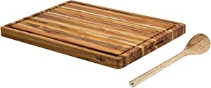 BEEFURNI Rectangular Real Teak Wood Durable Hard Wooden Cutting Chopping Juice Groove Board Kitchen Accessories Cheese Charcuterie Dinner Serving Tray Cold Cut Platter Butcher Thick Block, Extra Large