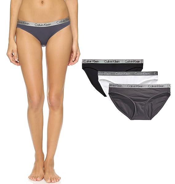 Braguitas estilo bikini para mujer, de Calvin Klein Grey/White/Black Medium