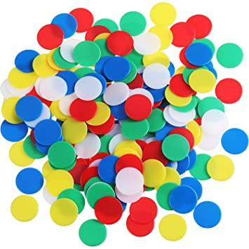 200 Pieces Colored Plastic Counters Counting Chips Bingo Markers ...