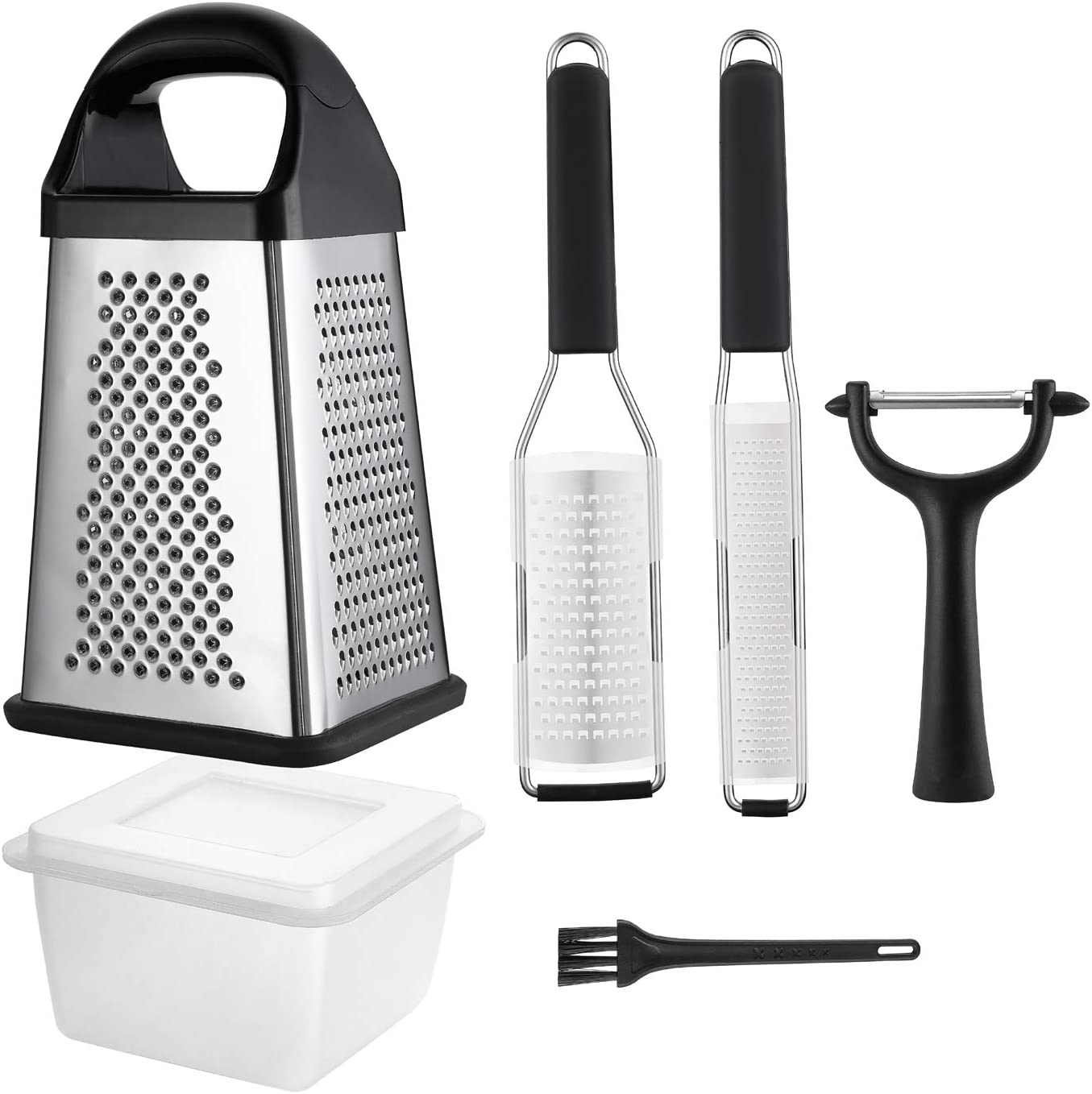 4-Piece Grater Set with 4-Sided Stainless Steel Box Grater,Set of 2 Grinders, Fruit&Vegetable Y-Peeler,and Cleaning Brush for Parmesan Cheese, Ginger,Lemon,Garlic,Nutmeg,Chocolate,Vegetables and Fruit