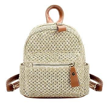 Widewing Travistar Bolsos Mochilas Mujer Casual Straw Backpack Women Mini Bolso de hombro Weave Hollow Beach Schoolbag / Marrón: Amazon.es: Deportes y aire ...