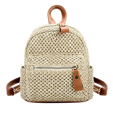 Tomtopp Straw Backpack Women Mini Shoulder Bag Weave Hollow Beach  Schoolbag Brown cd60b188f4be7