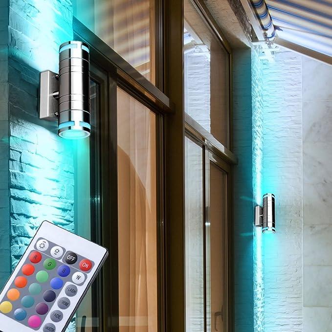 2er Set LED Außen Lampen RGB FERNBEDIENUNG Veranda Wand Laternen dimmbar Glas