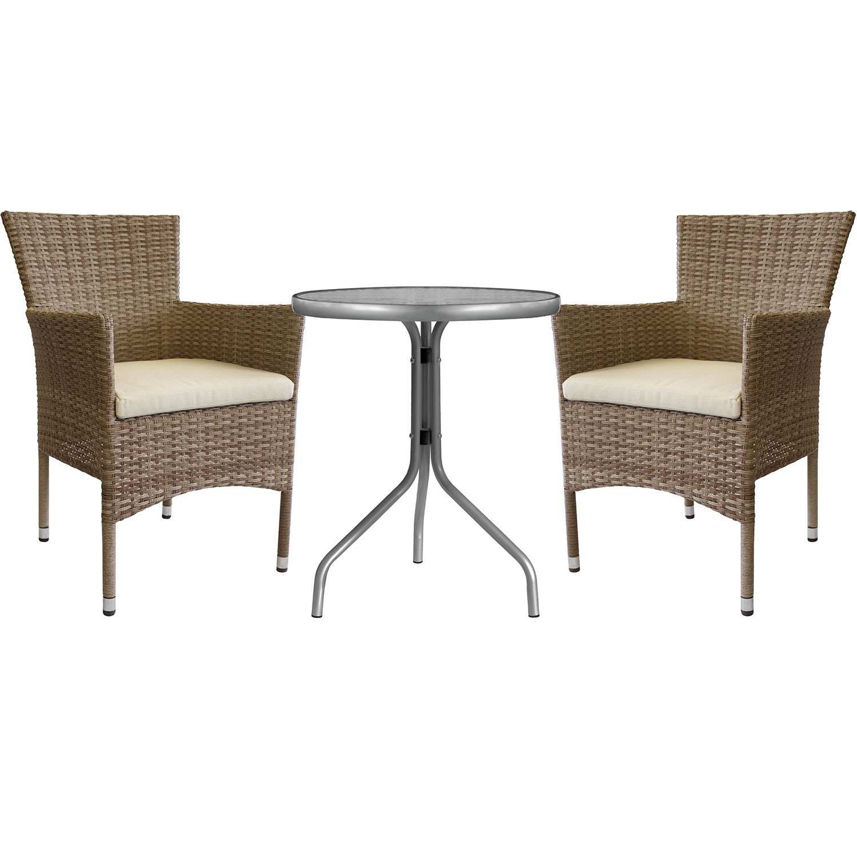 3tlg sitzgruppe glastisch 60cm 2x stapelbare polyrattan sessel nature inkl sitzkissen beige. Black Bedroom Furniture Sets. Home Design Ideas