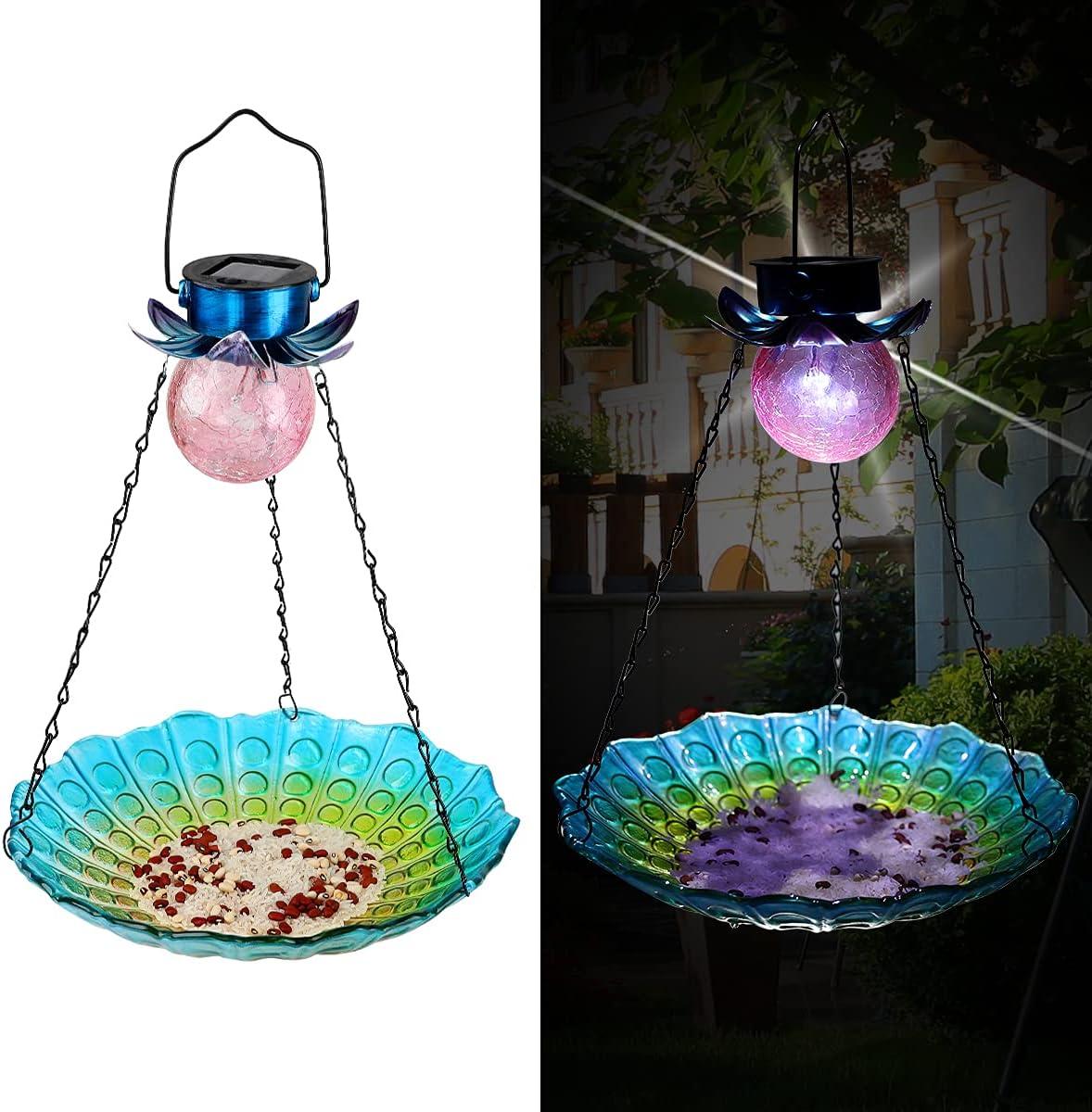 Aismio Solar Bird Feeder,Solar Powered Garden Lantern Light Bird-House Wild Hanging Birdfeeder,for Attracting Birds Decorative Solar Garden Crackle Glass Ball Light for Yard Lawn,11.3 Inch Dia