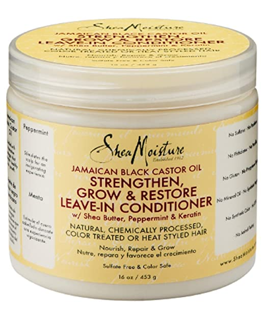SheaMoisture Strengthen, Grow & Restore Leave-In Conditioner, Jamaican Black Castor Oil--16 oz (453 g)