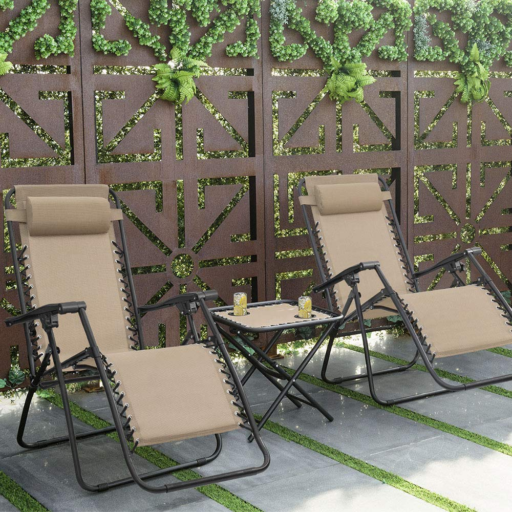Devoko Patio Zero Gravity Chair Outdoor Folding Adjustable Reclining Chairs Pool Side Using Lawn Lounge Chair with Pillow Set of 2 (Beige) by Devoko (Image #1)