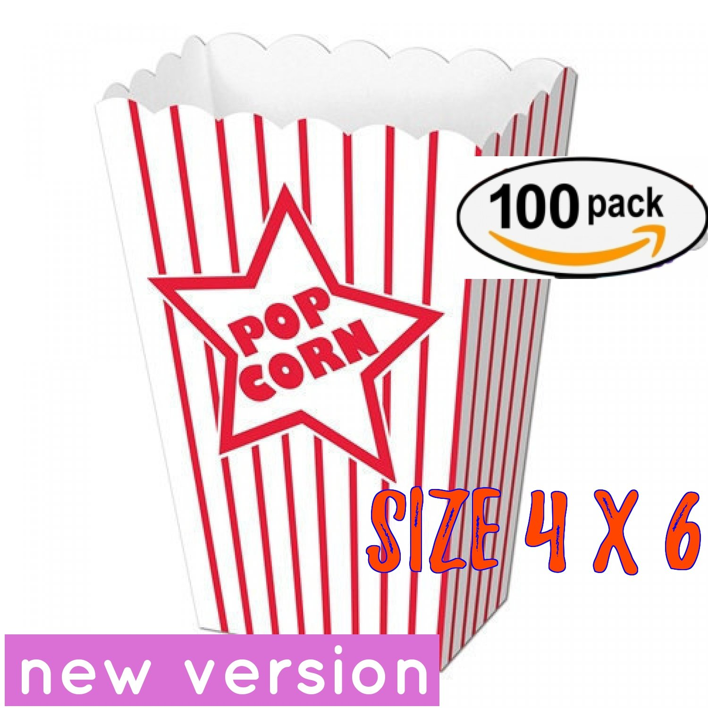 popcorn box cardboard Red and White Striped Popcorn Boxes Popcorn Bucket (100, 4'' x 6)