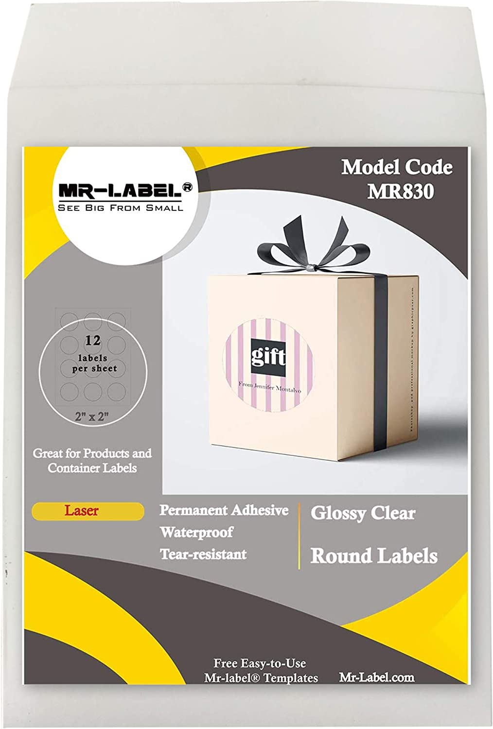 "Mr-Label 2"" Glossy Crystal Clear Round Labels - Waterproof and Tear-Resistant - for Laser Printer Only - Permanent Adhesive - for Food Package 