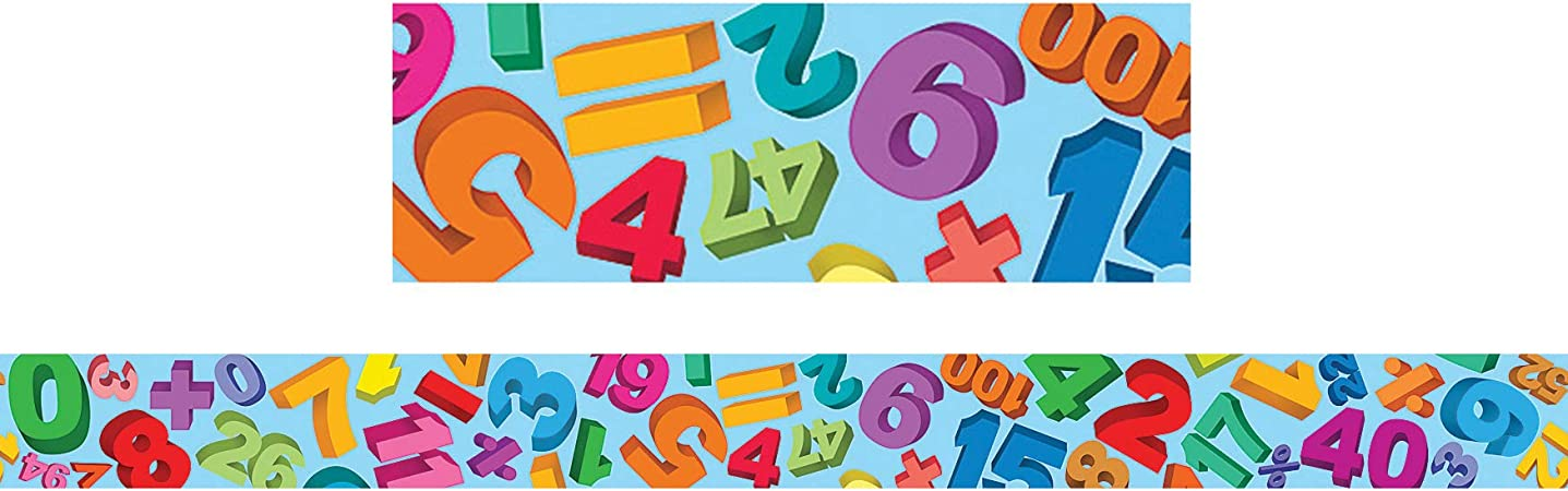 Amazon Com Teacher Created Resources Math Straight Border Trim Multi Color 4681 Themed Classroom Displays And Decoration Office Products