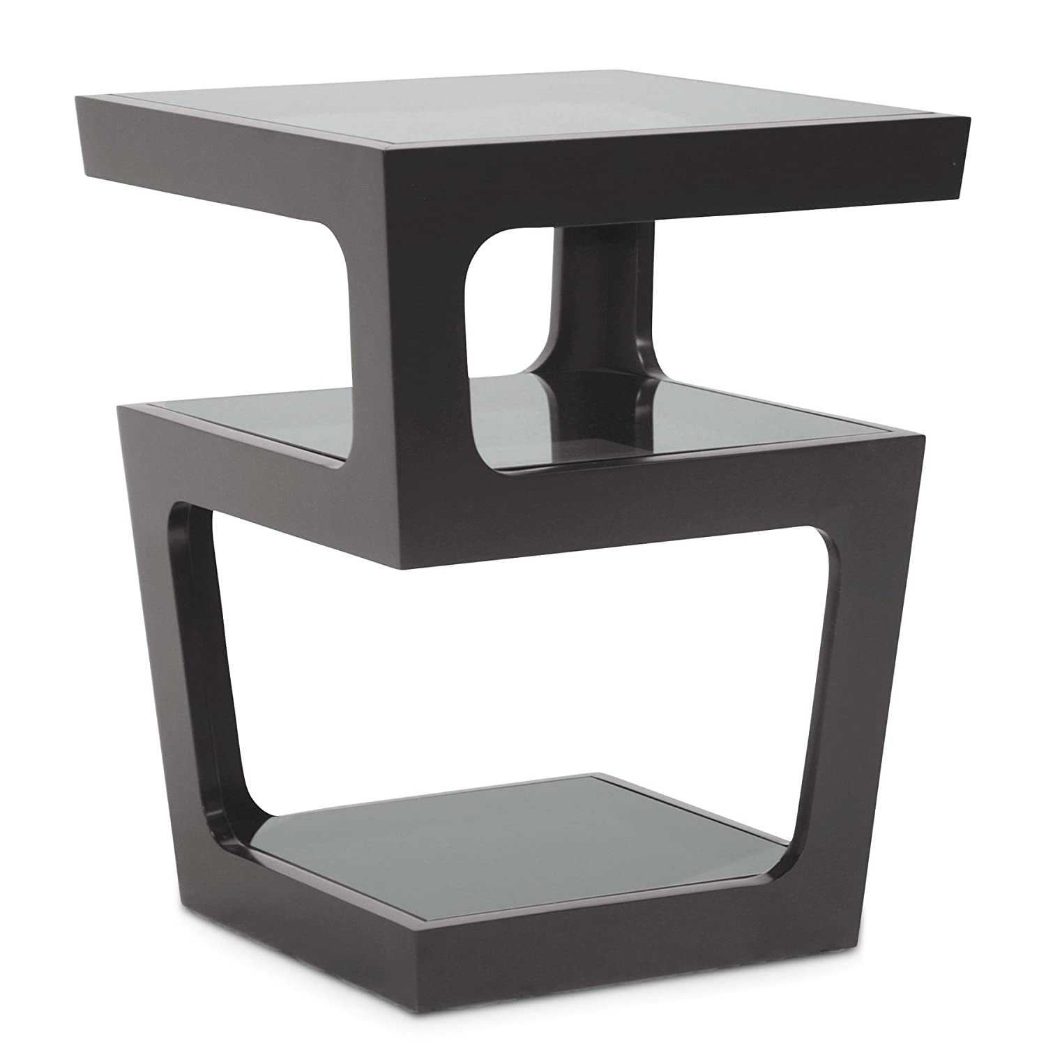 amazoncom baxton studio clara modern end table with tiered glassshelves black kitchen  dining. amazoncom baxton studio clara modern end table with tiered