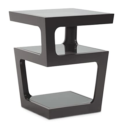 Incroyable Baxton Studio Clara Modern End Table With 3 Tiered Glass Shelves, Black