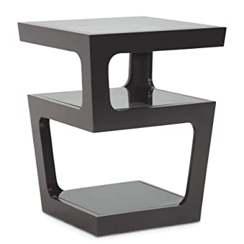Charmant Amazon.com: Baxton Studio Clara Modern End Table With 3 Tiered Glass  Shelves, Black: Kitchen U0026 Dining