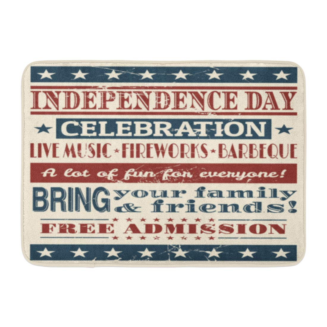 Emvency Bath Mat Colorful Retro Red July Vintage Style for Independence Day Blue 4Th Barbecue Bathroom Decor Rug 16'' x 24''