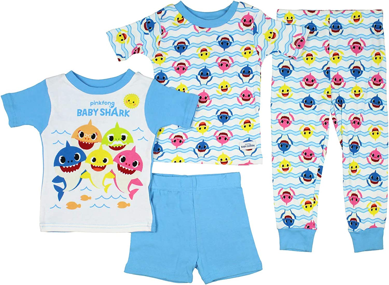 Baby Shark Toddler Boys Shark Waves 4 Piece Pajama Sets