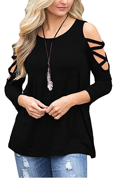 5512ec928baee MISSLOOK Women Cold Shoulder Tops Long Sleeve Shirts Hollowed Blouse Crew  Neck T Shirts Tunic -