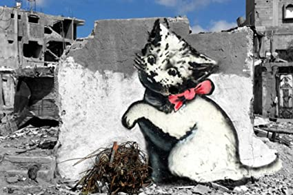 Pyramid America Banksy Kitten in War Battle Scarred Gaza Strip Urban  Graffiti Stencil Artist Poster 36x24 inch