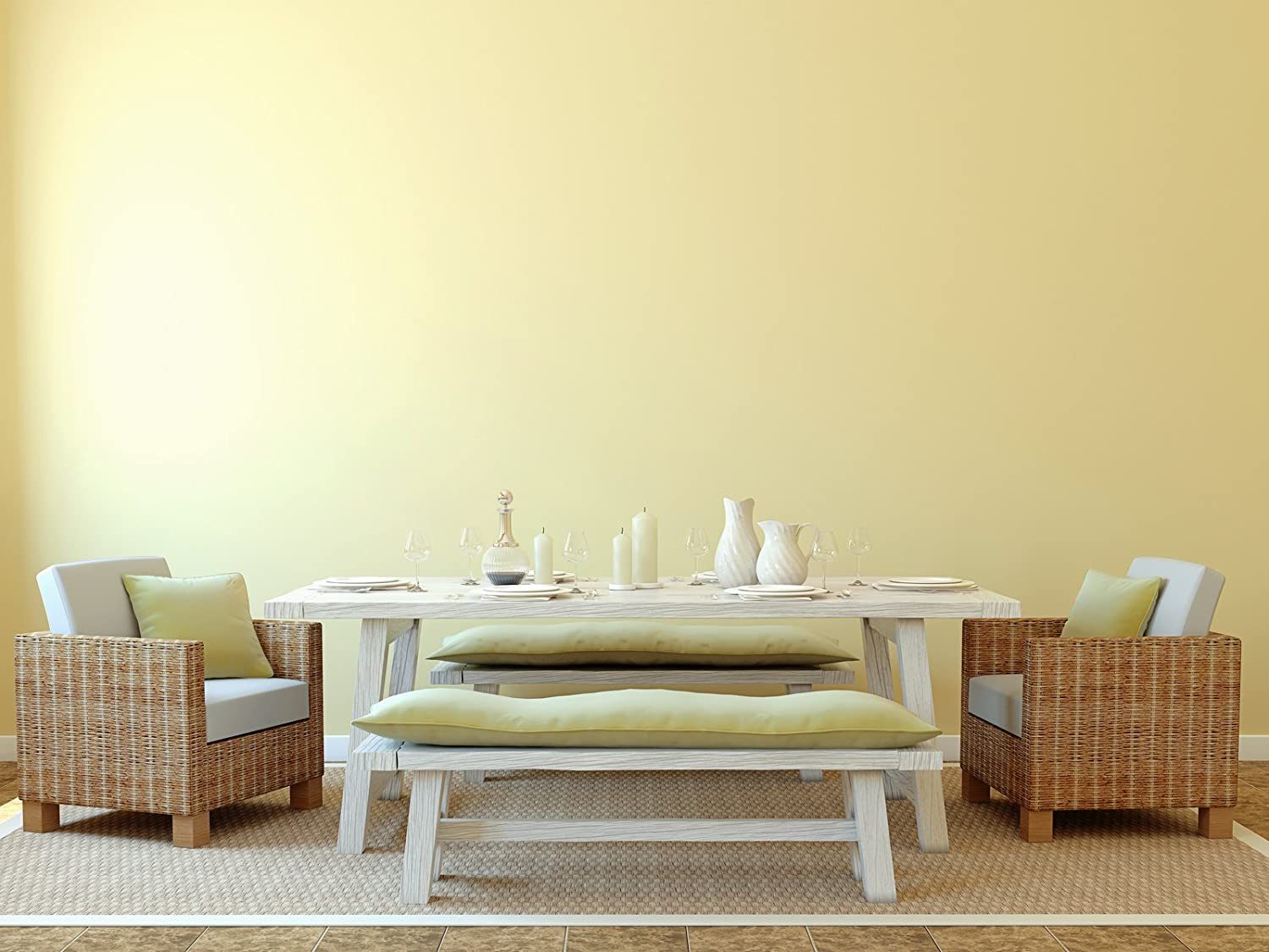Removable Solid Wallpaper - Peel and Stick Paint - 23.5 inches Wide by 32 feet Long Roll (Butter Cream Yellow)