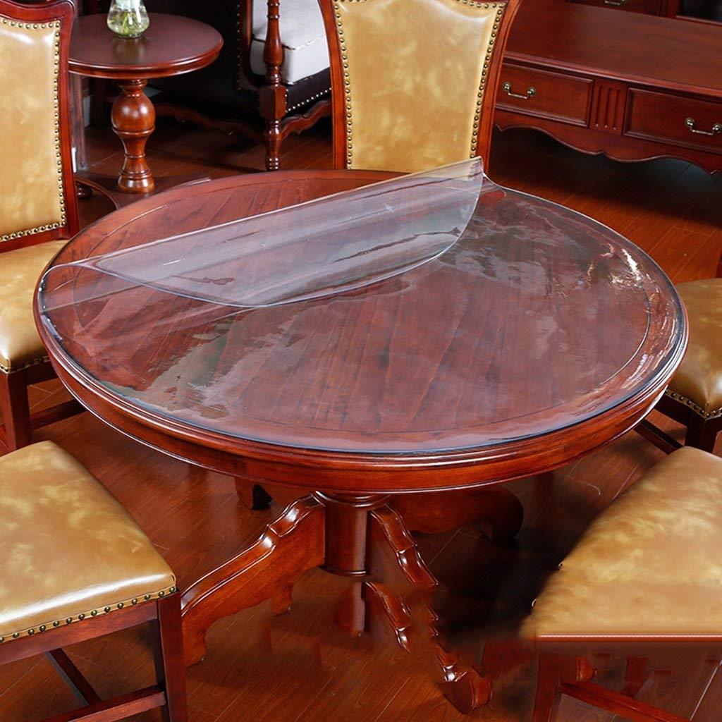 JJD キッチンリネンのテーブルクロスポリ塩化ビニール2mmのガラス透明で柔軟な防水使い捨て可能な油なしでヨーロッパスタイルの世帯、ホテルのレストランラウンド80センチメートル (サイズ : Round-100CM) Round-100CM  B07SQVG76J