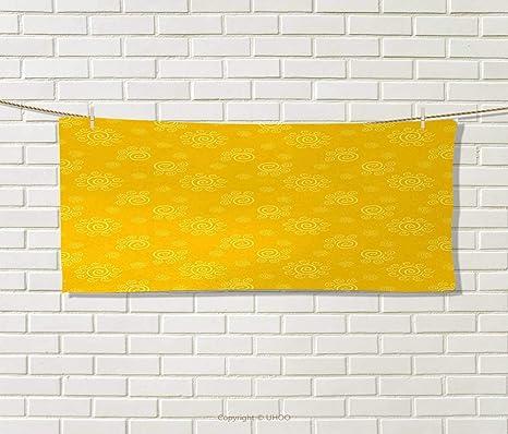 Anniutwo - Toalla de Color Amarillo, diseño de Estrella Dorada Sobre Fondo Liso, decoración