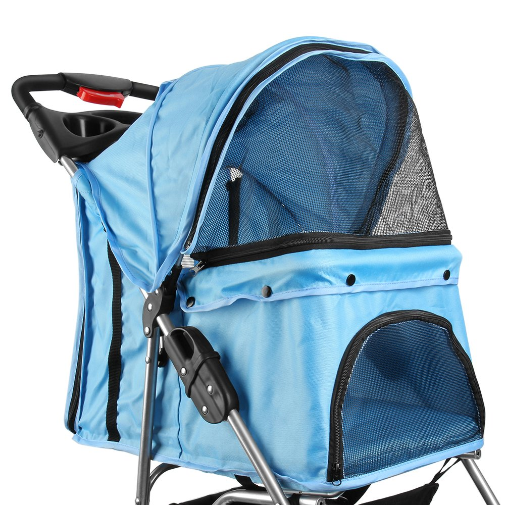 Flexzion Pet Stroller Dog Cat Small Animals Carrier Cage 4 Wheels Folding Flexible Easy Walk for Jogger Jogging Travel Up to 30 Pounds With Rain Cover Cup Holder and Mesh Window, Blue by Flexzion (Image #4)