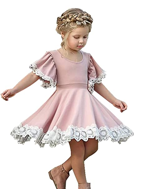 Amazoncom Kids Baby Girls Dress Lace Edge Floral Party