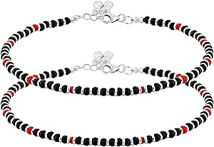 D/&D Crafts Attractive Sterling Silver Pair of Anklets For Girls Women