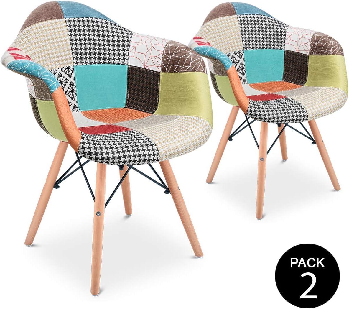 Mc Haus AURA Patchwork - Pack 2 Sillones Comedor estilo Vintage patchwork tower, Butaca con reposabrazos y diseño tapizado con patas de Madera Maciza 54x64x80cm