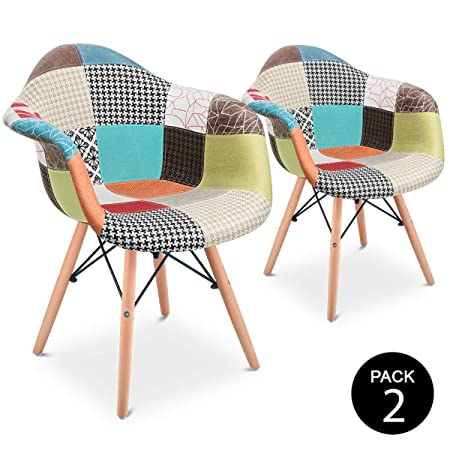 Mc Haus Aura X2 Pack 2 sillones Vintage Silla Comedor Cocina diseño Patchwork Multicolor, Poliéster, M