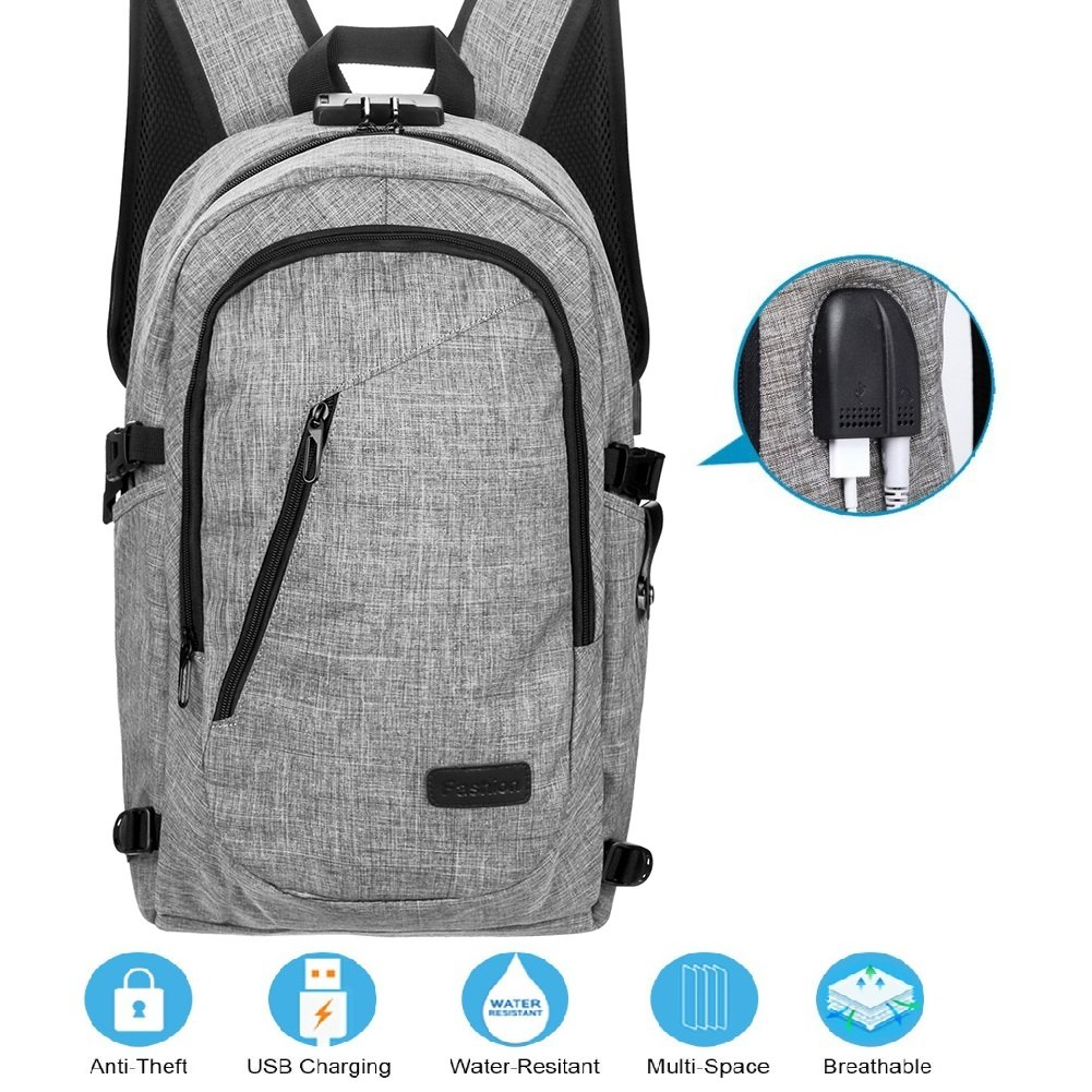 bee200af1 30%OFF Laptop Backpack with USB Charging Port and Lock & Headphone  Compartment, Fits