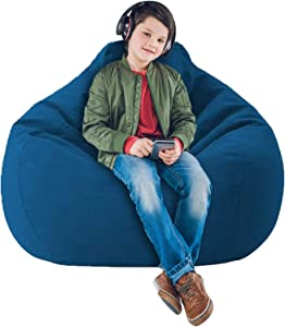 IZvs53C Soft Bean Bags Sofa Chairs Cover for Adults, Teens and Kids Indoor Outdoor, Memory Foam Furniture for Garden Lounge Dorm Room (Blue, 43.3