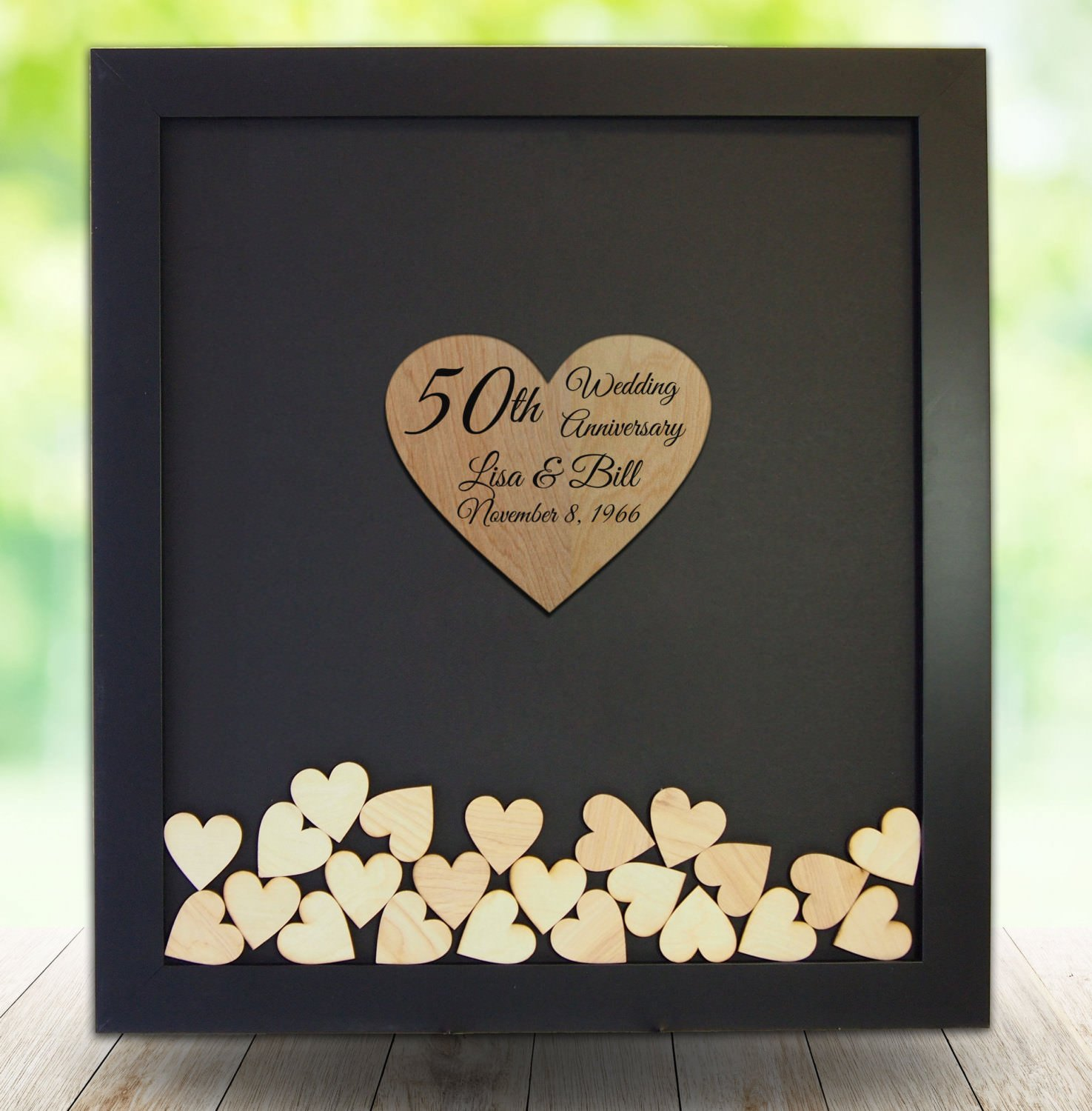 50th Wedding Anniversary Guest Book Alternative Drop Top Wooden Frame Custom Name Guestbook Wedding Gifts Wedding Favors 16 x 20 inch with 150 Hearts