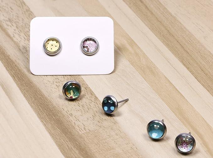 Earrings 13 x 18 mm cabochon jewelry with rhinestone LOCKENBAUM Curly Tree