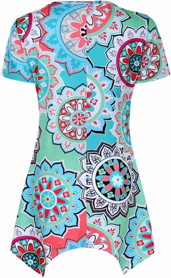 Donna T Shirt Asimmetrica Moda Casual Maglia Girocollo Irregolare Orlo Bohemien Hippie Chic Magliette Floreali Manica Corta e Canotta Gilet Senza Maniche Blusa Taglie Forti Elegante Casual Tunics Top