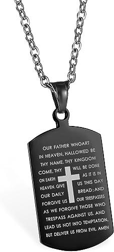 JewelryWe Schmuck Edelstahl Englisch Bibel Herr Gebet Kruzifix Kreuz Dog Tag Anhänger mit 55cm Kette, Halskette für Herren und Damen, Schwarz Silber,