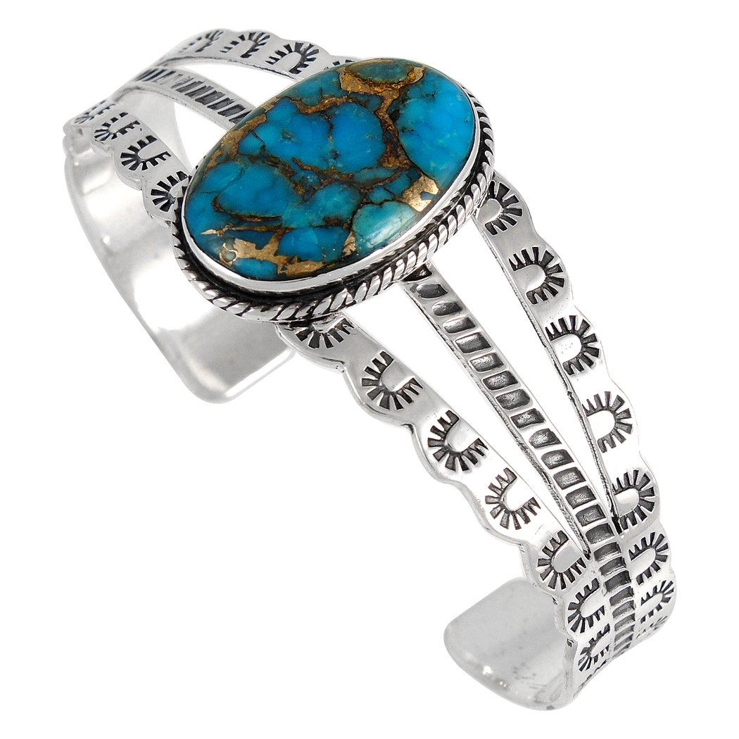 Turquoise Bracelet Sterling Silver 925 with Genuine Copper-Infused Turquoise