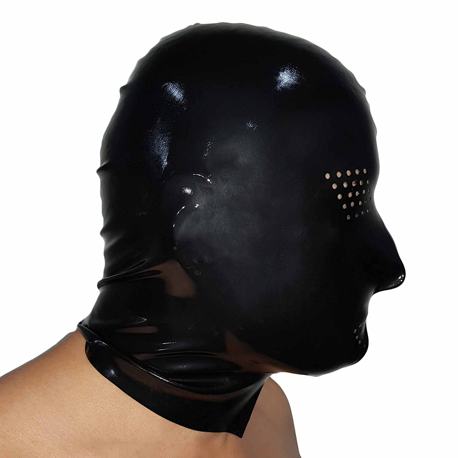 Brand New Latex Black Open Rubber Gummi Hood Mask (one size) Lequida