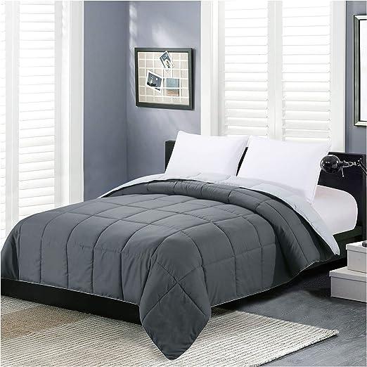 Homelike Moment Reversible Lightweight Comforter Queen Gray All Season Down Alternative Bed Comforter Summer Duvet Insert Quilted Comforters Full / Queen Size Dark Gray / Light Grey