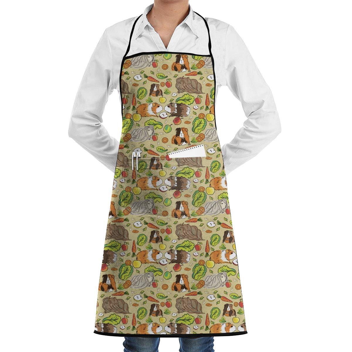 FUNINDIY ビブエプロン ポケット付き モルモット ペット 食品 キッチン エプロン 防水 料理 ベーカー サーバー BBQ 20インチ X 28インチ   B07L6TV2RP