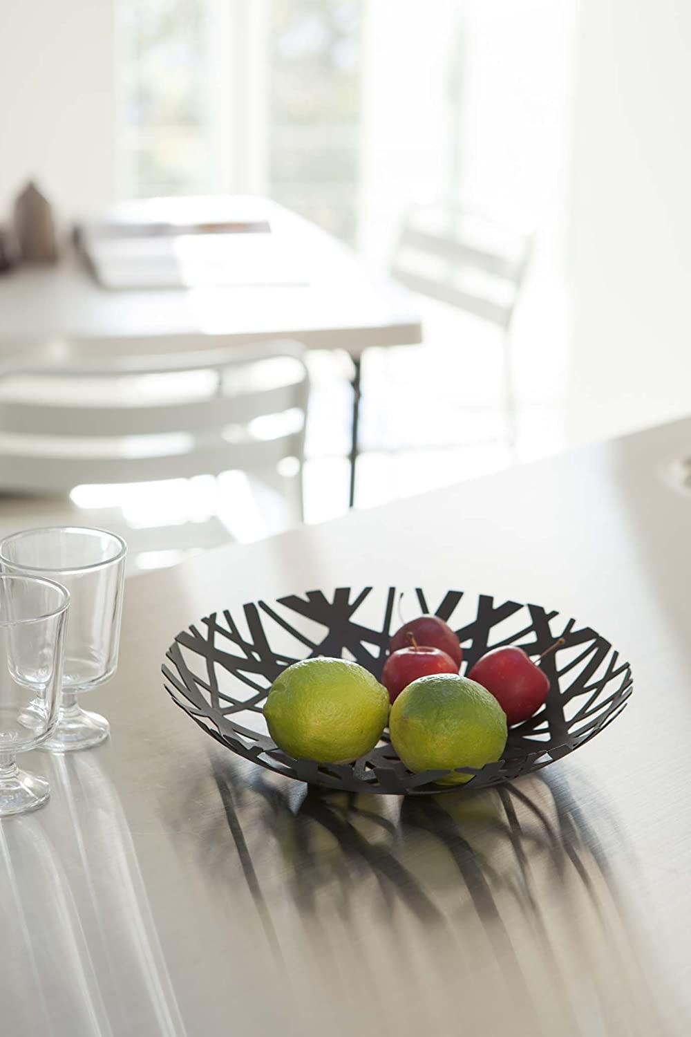 Red Co Decorative Centerpiece Bowl in Black Powder-Coated Steel