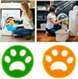 Reusable Pet Hair Remover Brush, Cat Lint Dog Fur for Laundry Washing Machine (1 Green + 1 Orange, Round)