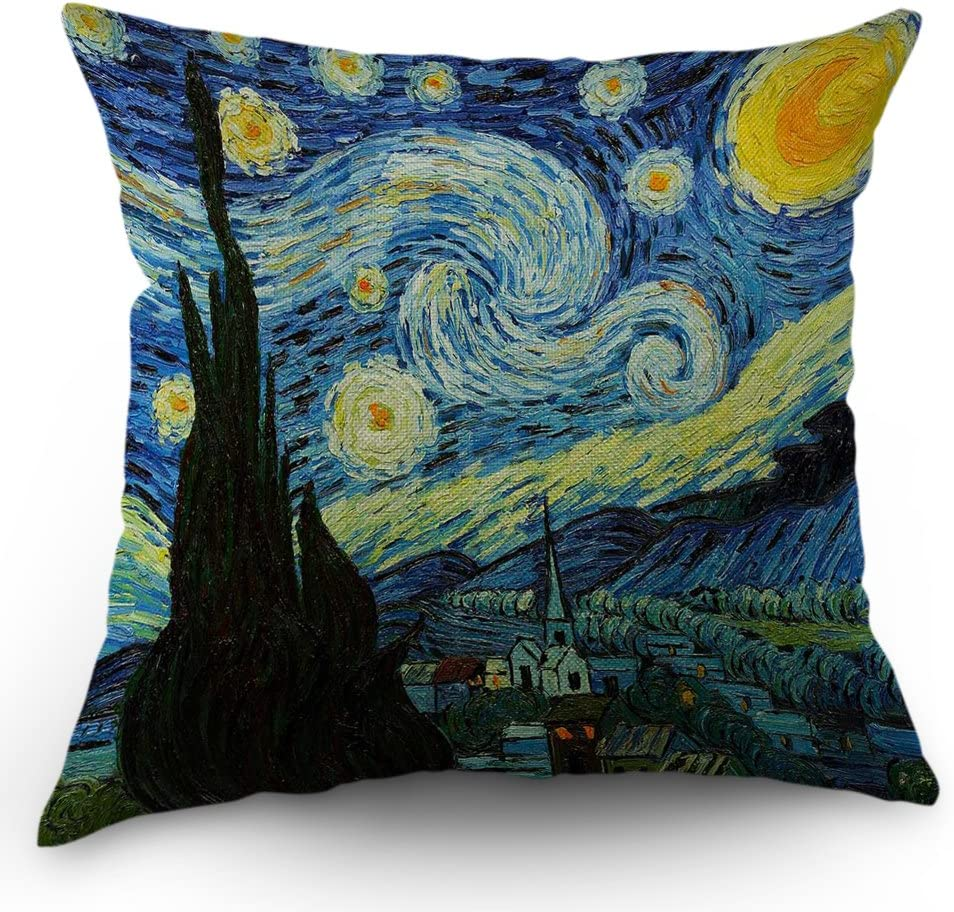 Van Gogh Pillow Cover Classic Arts Starry Night Throw Pillow Case 18 X 18 Inch Cotton Linen Cushion Cover For Men Women Dark Blue Yellow Home Kitchen