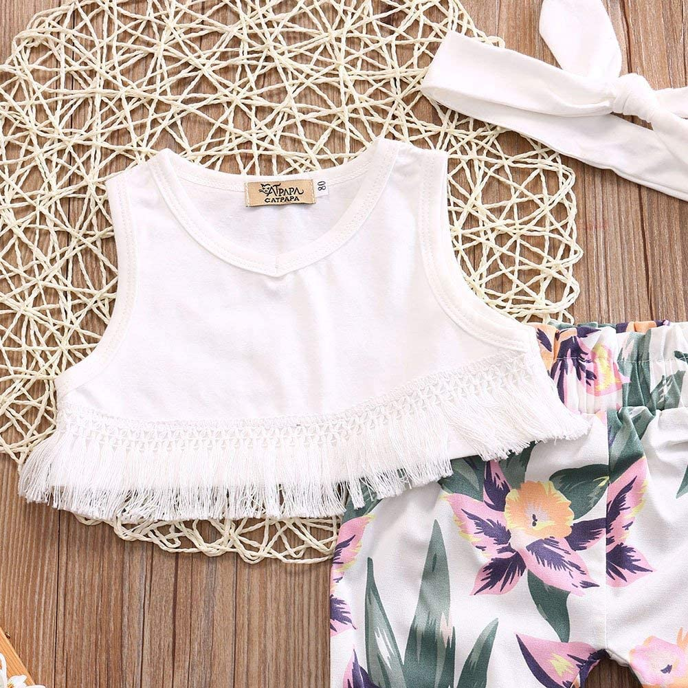 Infant Baby Girls Summer Outfit Tassel Sleeveless Crop Top Tropical Floral Pants Headband Clothes Set 0-24M