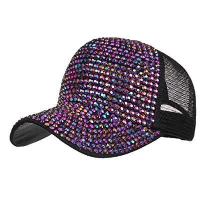 83ad675ec51 Image Unavailable. Image not available for. Color  Botrong Women Rhinestone  Hats Female Baseball Cap ...